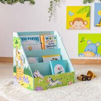 Kids Bookcase Childrens Magazine Rack Tidy Sunny Safari Fantasy Fields