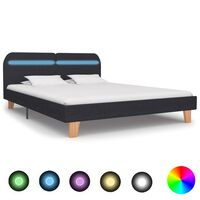 vidaXL Bed Frame with LED Dark Grey Fabric 180x200 cm 6FT Super King
