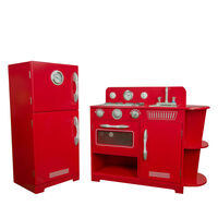 Teamson Kids kids Wooden Play Kitchen Red Toy Cooker 2 Pce TD-11779C