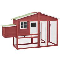 vidaXL Chicken Coop with Nest Box Red and White Solid Fir Wood