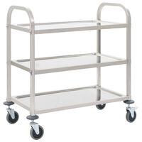 vidaXL 3-Tier Kitchen Trolley 107x55x90 cm Stainless Steel