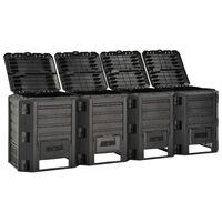 vidaXL Garden Composter Black 1600 L
