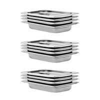 vidaXL Gastronorm Containers 12 pcs GN 1/4 40 mm Stainless Steel