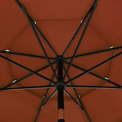 vidaXL 3-Tier Parasol with Aluminium Pole Terracotta 3.5 m