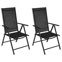 vidaXL Folding Garden Chairs 2 pcs Aluminium and Textilene Black
