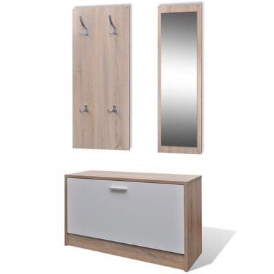 Oak and White 3-in-1 Wooden Shoe Cabinet Set
