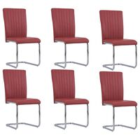 vidaXL Cantilever Dining Chairs 6 pcs Bordeaux Red Faux Leather