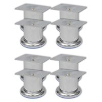 vidaXL Sofa Legs 8 pcs Round Chrome 60 mm