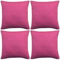 vidaXL Cushion Covers 4 pcs Linen-look Pink 80x80 cm