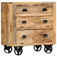 vidaXL Side Cabinet with Wheel 70x40x75 cm Solid Mango Wood