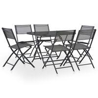vidaXL 7 Piece Folding Outdoor Dining Set Steel and Textilene Grey