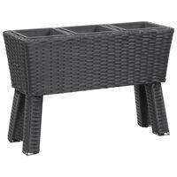 vidaXL Garden Raised Bed with Legs and 3 Pots 72x25x50 cm Poly Rattan Black