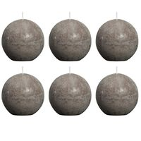 Bolsius Rustic Ball Candle 80 mm Taupe 6 pcs