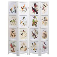 vidaXL 4-Panel Room Divider White 140x165 cm Bird