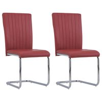 vidaXL Cantilever Dining Chairs 2 pcs Bordeaux Red Faux Leather