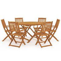 vidaXL 7 Piece Folding Garden Dining Set Solid Acacia Wood