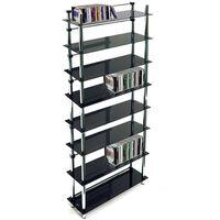 344 DVD / Blu-ray / 520 CD / Media Storage Shelves - Black / Silver