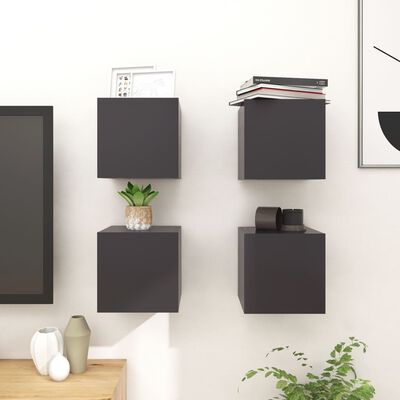 vidaXL Wall Mounted TV Cabinets 4 pcs Grey 30.5x30x30 cm