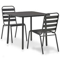 vidaXL 7 Piece Outdoor Dining Set Steel Dark Grey