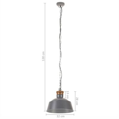 vidaXL Industrial Hanging Lamp 32 cm Grey E27
