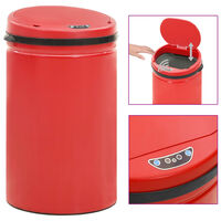 vidaXL Automatic Sensor Dustbin 40 L Carbon Steel Red