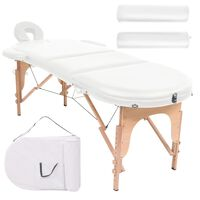 110158 vidaXL Folding Massage Table 10 cm Thick with 2 Bolsters Oval White