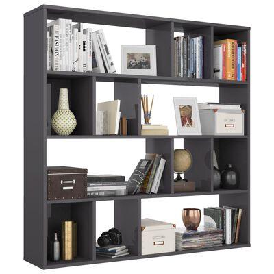 vidaXL Room Divider/Book Cabinet High Gloss Grey 110x24x110 cm Chipboard