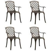 vidaXL Garden Chairs 4 pcs Cast Aluminium Bronze