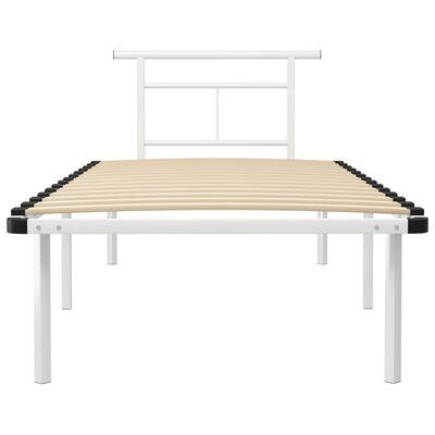 vidaXL Bed Frame White Metal 90x200 cm
