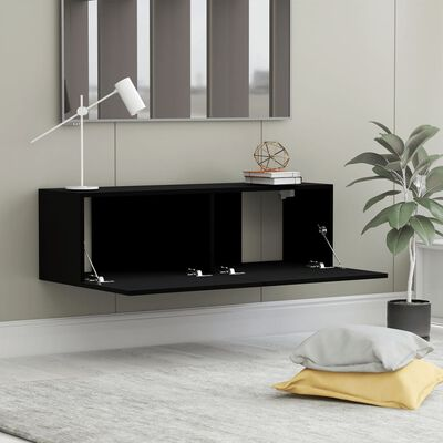 vidaXL TV Cabinet Black 100x30x30 cm Chipboard
