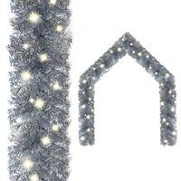 vidaXL Christmas Garland with LED Lights 20 m Silver