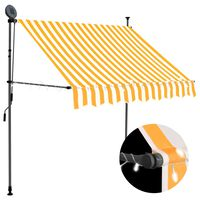vidaXL Manual Retractable Awning with LED 200 cm White and Orange