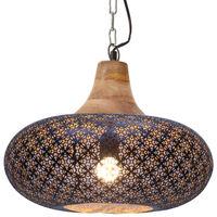 vidaXL Industrial Hanging Lamp Black Iron & Solid Wood 40 cm E27