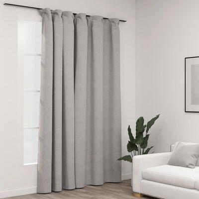 vidaXL Linen-Look Blackout Curtain with Hooks Grey 290x245 cm