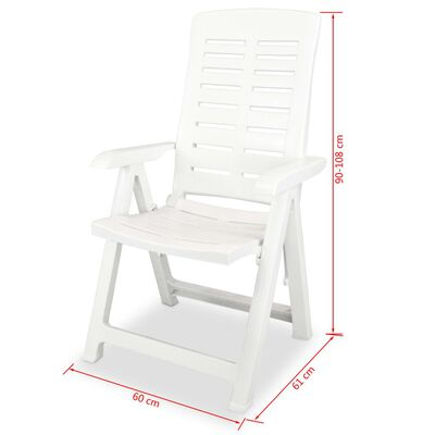 vidaXL 5 Piece Outdoor Dining Set Plastic White