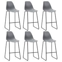 vidaXL Bar Chairs 6 pcs Grey Plastic