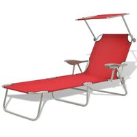 vidaXL Sun Lounger with Canopy Steel Red