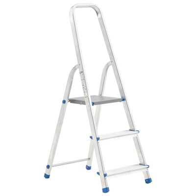 vidaXL Aluminium Step Ladder 3 Steps 150 kg