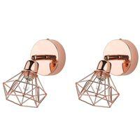 Set of 2 Metal Wall Lamps Copper ERMA