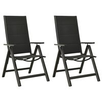 vidaXL Folding Garden Chairs 2 pcs Textilene and Aluminium Black