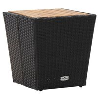 vidaXL Tea Table Black 41.5x41.5x43cm Poly Rattan and Solid Acacia Wood