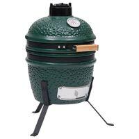 vidaXL 2-in-1 Kamado Barbecue Grill Smoker Ceramic 56 cm Green