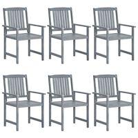 vidaXL Garden Chairs 6 pcs Solid Acacia Wood Grey