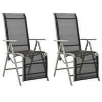 vidaXL Reclining Garden Chairs 2 pcs Textilene and Aluminium Silver