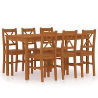 vidaXL 7 Piece Dining Set Pinewood Honey Brown