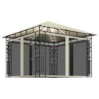 vidaXL Gazebo with Mosquito Net and String Lights 3x3x2.73 m Cream 180 g/m²