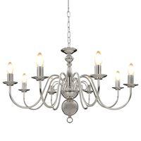 vidaXL Chandelier Silver 8 x E14 Bulbs
