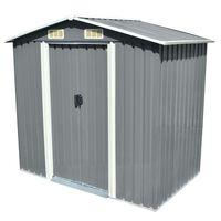 vidaXL Garden Storage Shed Grey Metal 204x132x186 cm