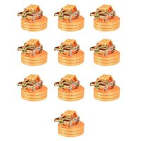 vidaXL Ratchet Tie Down Straps 10 pcs 1 Tonnes 6mx38mm Orange