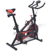 vidaXL Exercise Spinning Bike with Pulse Sensors Black and Red